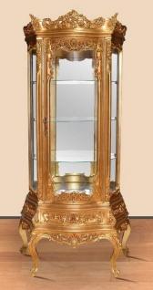 Casa Padrino Barock Vitrine Gold - Prunkvoller Barock Vitrinenschrank mit Schublade - Handgefertigte Barock Wohnzimmer Möbel