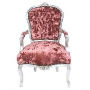 Casa Padrino Barock Salon Stuhl Bordeaux Velour Stoff / Silber - Antik Design Möbel