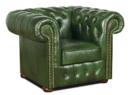 Casa Padrino Chesterfield Echtleder Sessel Grün 110 x 90 x H. 78 cm - Luxus Kollektion