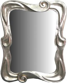 Casa Padrino Jugendstil Spiegel Silber 80 x H. 100 cm - Garderoben Spiegel - Wandspiegel - Barock & Jugendstil Deko Accessoires