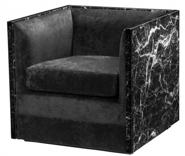 Casa Padrino Luxus Hotel Sessel Schwarz 71 x 70 x H. 68 cm - Limited Edition