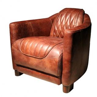 Casa Padrino Echtleder Wohnzimmer Sessel Vintage Braun 73 x 85 x H. 72 cm - Luxus Kollektion