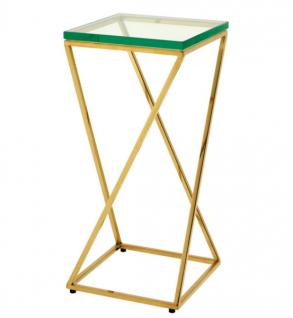 Casa Padrino Luxus Art Deco Designer Beistelltisch Gold 23, 5 x 23, 5 x H. 51 cm - Designer Tisch