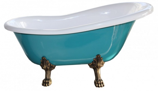Freistehende Luxus Badewanne Jugendstil Roma Türkis/Weiß Altgold 1470mm - Barock Antik Badezimmer