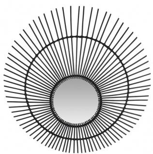 Casa Padrino Designer Rattan Spiegel Schwarz Ø 120 cm - Wandspiegel im Sonnen Design