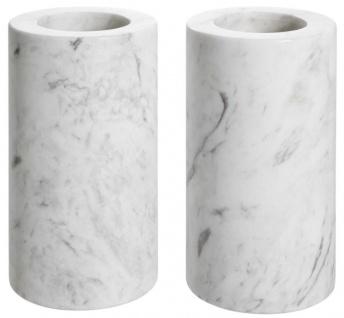 Casa Padrino Luxus Marmor Teelichthalter Set Weiß Ø 10 x H. 18 cm - Luxus Qualität - Vorschau 2