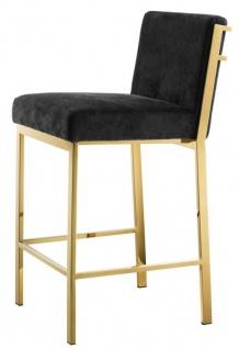 Casa Padrino Luxus Barstuhl Schwarz / Gold 43 x 54 x H. 91 cm - Designer Edelstahl Barhocker mit Samtstoff - Barmöbel