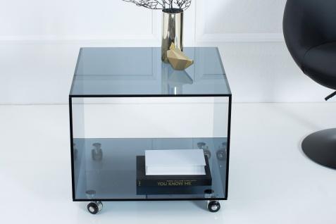 Casa Padrino Wohnzimmer Beistelltisch mit Rollen aus Glas Anthrazit 50 x 50 x H. 45 cm - Designer Möbel - Vorschau 3