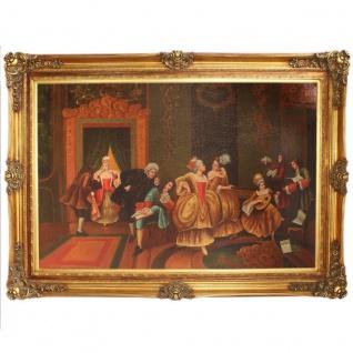 Riesiges Handgemaltes Barock Öl Gemälde Unterhaltungsabend Mod.2 Gold Prunk Rahmen 225 x 165 x 10 cm - Massives Material - Vorschau