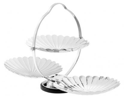 Casa Padrino Designer Etagere mit Tragegriff Silber / Schwarz 42 x 22, 5 x H. 26, 5 cm - Klappbares Luxus Messing Serviertablett mit Granitsockel