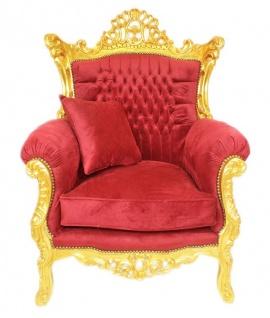 Casa Padrino Barock Wohnzimmer Set Bordeaux Samtstoff / Gold - 3er Sofa + 2 Sessel - Vorschau 3