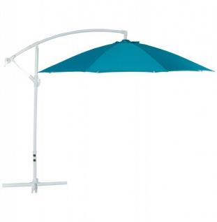 Casa Padrino Sonnenschirm mit Aluminium Ständer Blau Durchmesser 300 cm
