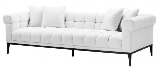 Casa Padrino Luxus Sofa Weiß / Schwarz 240 x 98 x H. 69 cm - Wohnzimmer Sofa mit 4 Kissen - Wohnzimmer Möbel - Luxus Möbel