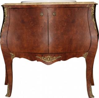 Casa Padrino Barock Waschtisch Braun mit cremfarbiger Marmorplatte - Barock Badezimmermöbel