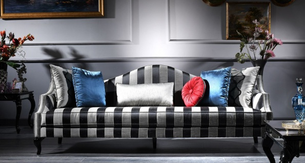 Casa Padrino Luxus Barock Sofa Silber / Schwarz 245 x 92 x H. 93 cm - Gestreiftes Wohnzimmer Sofa - Barockmöbel