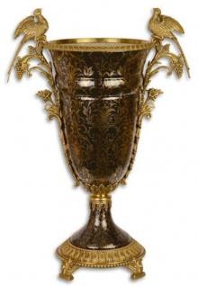 Casa Padrino Barock Deko Vase Schwarz / Gold 42, 7 x 26 x H. 62, 9 cm - Prunkvolle Porzellan Blumenvase mit 2 edlen Bronze Griffen - Deko Accessoires im Barockstil