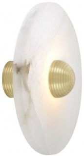 Casa Padrino Luxus LED Wandleuchte Alabaster / Hell Messingfarben 35 x 16, 5 x H. 35 cm - Runde Designer Lampe - Luxus Kollektion