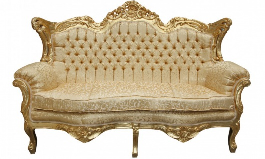 Casa Padrino Barock Wohnzimmer Set Gold Muster/ Gold - 3er Sofa+2er Sofa + 1 Sessel - Vorschau 2