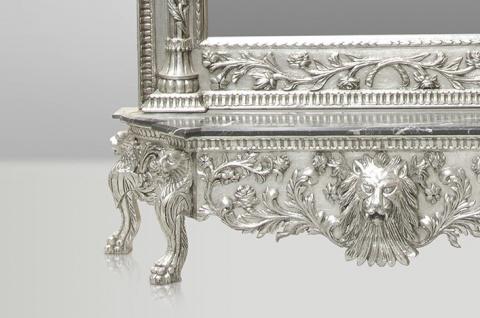 Casa Padrino Luxus Barock Spiegelkonsole Silber Lion - Luxus Wohnzimmer Möbel Konsole mit Spiegel Löwenkopf - Vorschau 2
