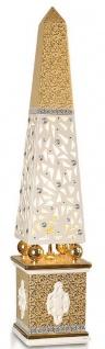 Casa Padrino Luxus Stehleuchte Obelisk Weiß / Gold 22 x 22 x H. 105 cm - Handbemalte Keramik Stehlampe mit Swarovski Kristallglas - Luxus Lampe