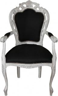 Casa Padrino Barock Esszimmerstuhl mit Armlehnen schwarz / antik weiß 60 x 53 x H. 105 cm - Luxus Qualität