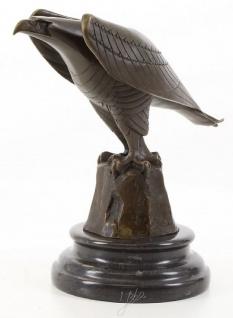 Casa Padrino Designer Adler Skulptur Bronze / Schwarz 21, 1 x 12, 1 x H. 20, 6 cm - Luxus Bronzefigur