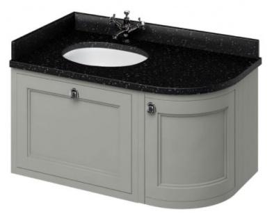 Casa Padrino Hänge-Waschschrank / Waschtisch mit Granitplatte Schublade und Tür 98 x 55 x H. 59 cm