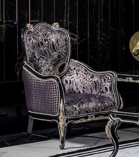 Casa Padrino Luxus Barock Wohnzimmer Sessel Lila / Schwarz / Gold - Handgefertigter Barockstil Sessel mit elegantem Muster - Barock Wohnzimmer Möbel