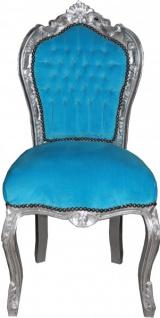 Casa Padrino Barock Esszimmer Stuhl ohne Armlehne Türqis/Silber - Antik Stil