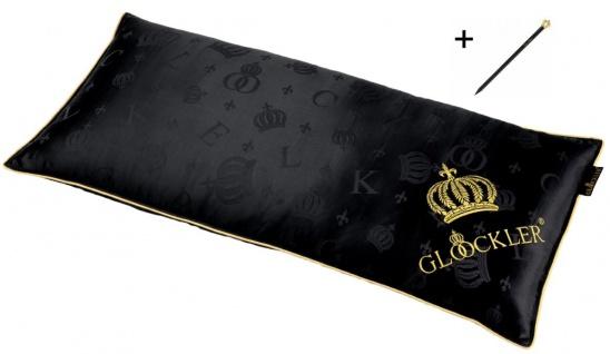 Harald Glööckler Designer Seiden Luxus 3 Kammer Kopfkissen 40 x 80 cm Schwarz / Gold + Casa Padrino Luxus Barock Bleistift mit Kronendesign