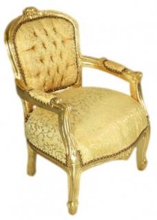 Casa Padrino Barock Kinder Stuhl Gold Muster /Gold - Armlehnstuhl - Antik Stil Möbel - Vorschau 2