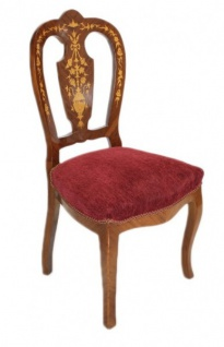 Casa Padrino Barock Luxus Esszimmer Stuhl Bordeaux / Mahagoni Intarsien - Antik Stil - Möbel - Vorschau 2
