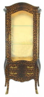Casa Padrino Barock Vitrine Leopard - Vitrinenschrank - Möbel Wohnzimmer Schrank
