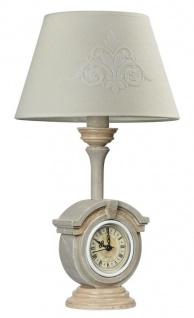 Casa Padrino Jugendstil Tischleuchte mit Uhr Grau / Beige Ø 24 x H. 41, 5 cm - Jugendstil Möbel
