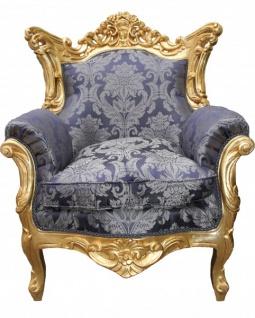 Casa Padrino Barock Sessel Al Capone Mod2 Royalblau Muster / Gold - Sessel im Antik Stil