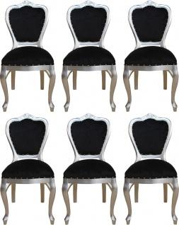 Casa Padrino Luxus Barock Esszimmer Set Schwarz / Silber 45 x 46 x H. 99 cm - 6 handgefertigte Esszimmerstühle - Barock Esszimmermöbel