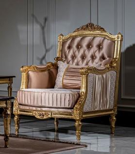 Casa Padrino Luxus Barock Sessel Rosa / Weiß / Gold - Handgefertigter Wohnzimmer Sessel mit dekorativem Kissen - Barock Möbel