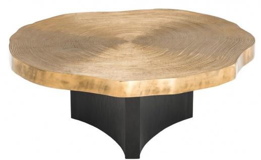 Casa Padrino Luxus Couchtisch Set Messingfarben / Schwarz - Luxuriöse Wohnzimmertische mit Tischplatten im Baumscheiben Design - Vorschau 5