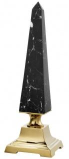 Casa Padrino Luxus Deko Obelisk Schwarz / Gold 12, 5 x 12, 5 x H. 40 cm - Wohnzimmer Deko Accessoires