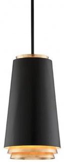 Casa Padrino Luxus LED Hängeleuchte Schwarz / Gold Ø 31, 8 x H. 55, 9 cm - Runde Metall Pendelleuchte mit Blattgold
