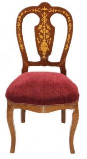 Casa Padrino Barock Luxus Esszimmer Stuhl Bordeaux / Mahagoni Intarsien - Antik Stil - Möbel - Vorschau 1