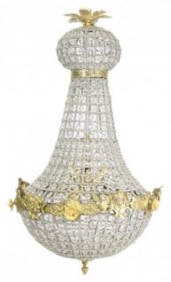 Casa Padrino Barock Kronleuchter Gold mit Glaskristallen 75 x 40 cm Antik Stil - Möbel Lüster Leuchter Hängeleuchte Hängelampe