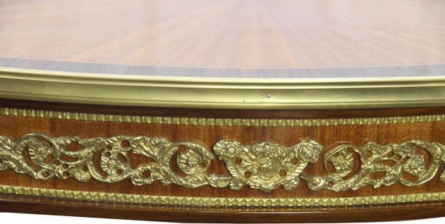 Casa Padrino Luxus Barock Beistelltisch Mahagoni Intarsien mit Messingapplikationen 90 x 53 x H77 cm - Vorschau 4