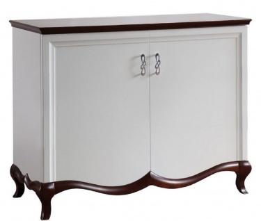 Casa Padrino Luxus Art Deco Schrank mit 2 Türen Weiß / Dunkelbraun 114 x 46, 5 x H. 90, 2 cm - Luxus Möbel - Vorschau