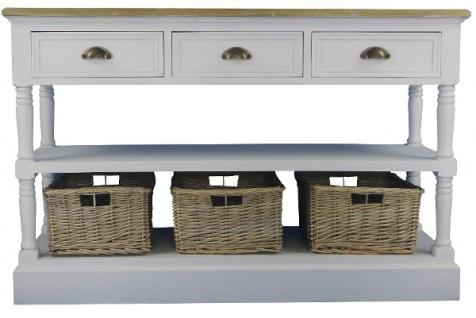 Casa Padrino Landhausstil Konsolentisch mit Ablage und Rattankörben Antik Weiß / Naturfarben 122 x 36 x H. 80 cm - Handgefertigte Konsole im Landhausstil