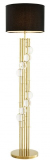Casa Padrino Luxus Stehleuchte Gold / Schwarz Ø 48 x H. 176 cm - Designer Lampe mit Kristallglas - Luxus Wohnzimmer Lampe