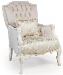 Casa Padrino Luxus Barock Wohnzimmer Sessel mit dekorativem Kissen Hellrosa / Weiß / Beige 85 x 85 x H. 115 cm - Barock Möbel