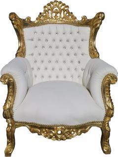 Casa Padrino Barock Sessel Al Capone Weiß / Gold mit Bling Bling Glitzersteinen - Antik Stil Wohnzimmer Möbel