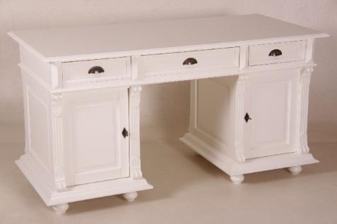 Casa Padrino Schreibtisch Kiefer Massiv England Weiß - Englischer Schreibtisch - Antik Stil - Empire Jugendstil Barock Kolonial Shabby Chic