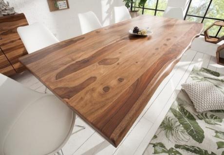 Casa Padrino Designer Esstisch Braun / Silber 200 x 98 x H. 76 cm - Luxus Küchentisch mit massiver Sheesham Holz Tischplatte und polierten Edelstahl Beinen - Vorschau 2